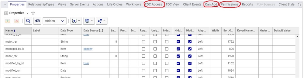 Highlighted sections indicating TOC Access, Can Add, and Permissions